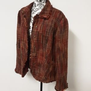 Coldwater Creek Fringe Tweed Red&Brown Jacket